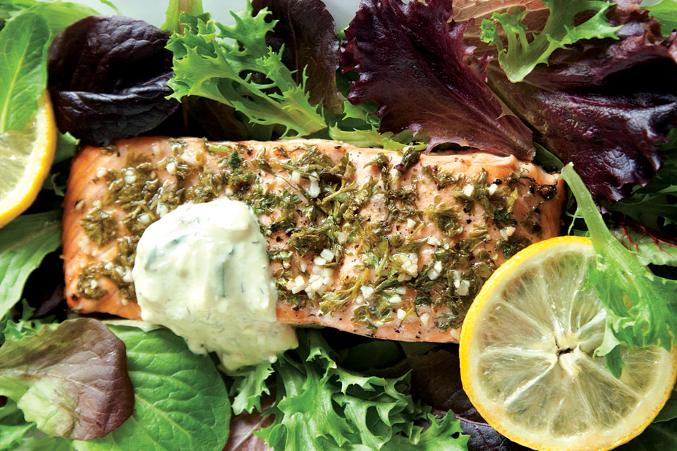 Baked-Herb-Salmon-On-Mixed-Greens